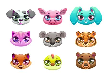Little cute cartoon animal faces.