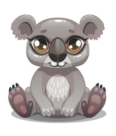 Pequeño icono de oso koala de dibujos animados lindo. Ilustración animal australiana.
