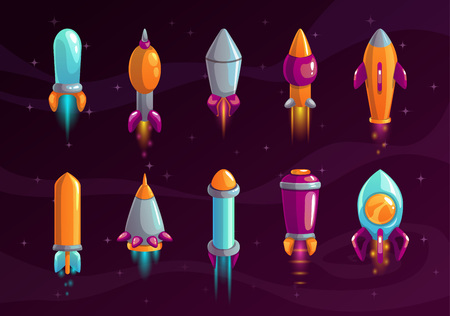 Cartoon colorful space missile set.  イラスト・ベクター素材