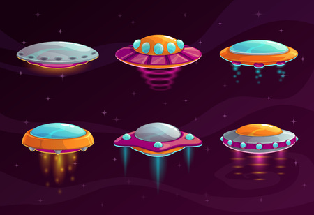 Cartoon colorful ufo assets vector illustration set.