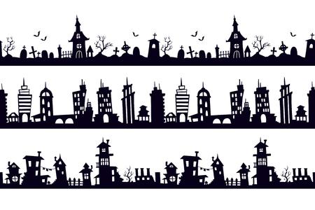 Ensemble de paysages de silhouette transparente noire. Modèles vectoriels pour autocollants muraux décoratifs.