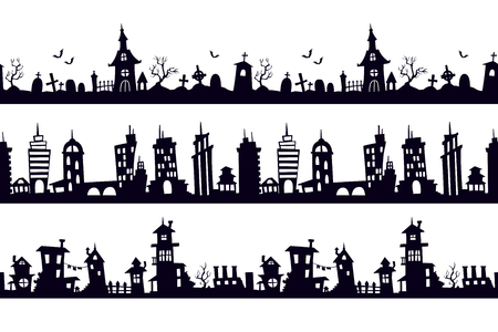 Set of black seamless silhouette landscapes. Vector templates for decorative wall stickers.