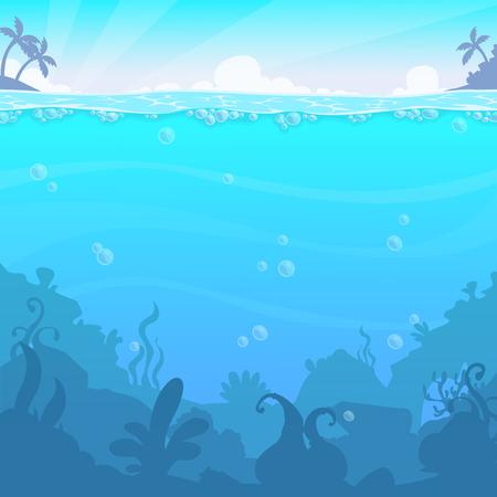 Paysage sous-marin, illastérisation vectorielle. Bel emplacement sous la mer. Fond de l'eau bleue.
