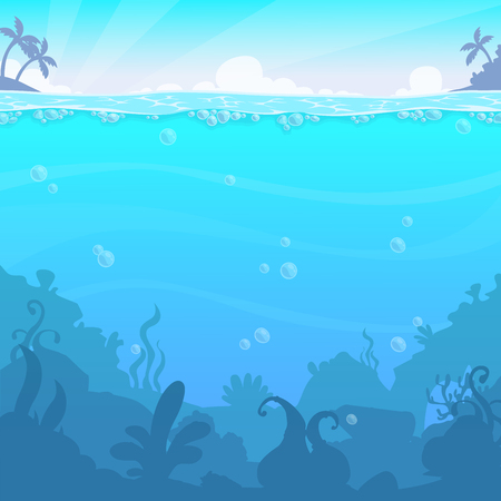 Underwater landscape, vector illasteration. Beautiful under sea location. Blue water background.