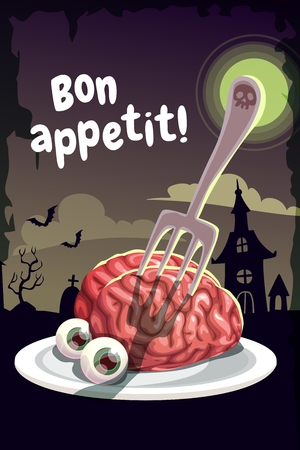 Bon appetit. Scary Halloween poster with creepy human brain