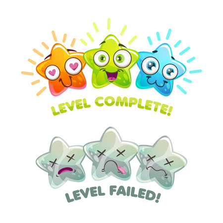 Level complete and level failed screens. Game over banners. Vector assets for online or mobile game design. Illustration