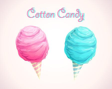 Icônes de barbe à papa rose et bleu. Illustration vectorielle.