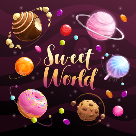 Sweet world poster. Food planets set on the space background. Cotton candy, chocolate cookie, candy, donut, caramel sweets icons. Vector illustration. Ilustração