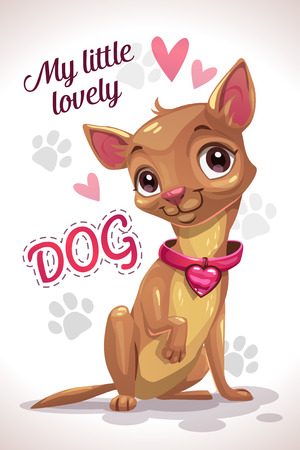 My little lovely dog. Cute cartoon sitting chihuahua puppy. Vector print template for girlish t shirts design.