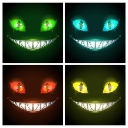 Halloween gruselige Plakate gesetzt. Fantasie beängstigend lächelndes böses Tiergesicht auf dem schwarzen Hintergrund. Cheshire Cat Augen und Mund, Vektorillustration. Albtraum-Fantasy-Kreatur.