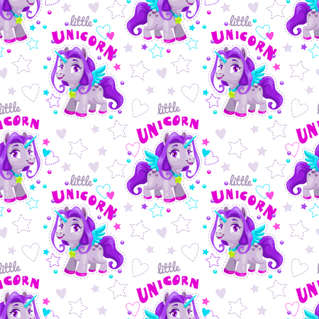 Seamless pattern with cute cartoon purple unicorn and slogans. Vector trendy stylish girlish texture for textile design. Archivio Fotografico - 109900656