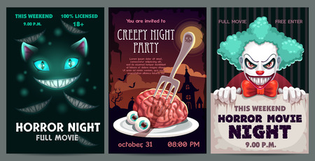 Conjunto de carteles y pancartas de miedo. Folleto de invitación de fiesta de terror. Diseño de cartel de película espeluznante. Ilustración de vector.