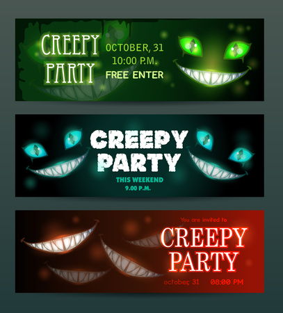 Creepy party banners layouts set. Vector scary night invitation flyers.