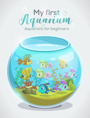 Mi primer acuario, acuario para principiantes, plantilla de diseño de portada de libro infantil con pecera y encabezado completos. Tanque de dibujos animados con peces de colores. Ilustración de vector.
