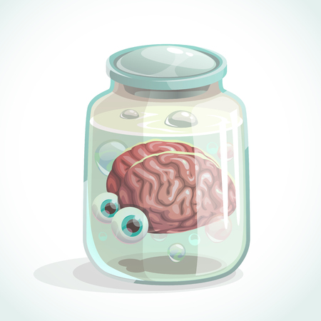 Human brain and eyes in the jar. Cartoon vector icon.