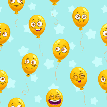Seamless pattern with funny cartoon yellow balloons. Emoji faces texture. Stock Photo
