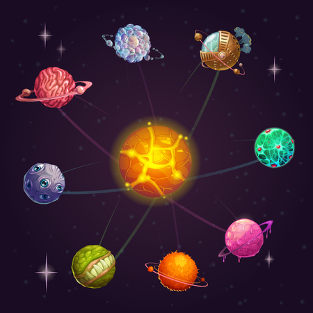 Fantasy alien solar system with star and unusual planets. Vector cartoon space illustration. Ilustrace
