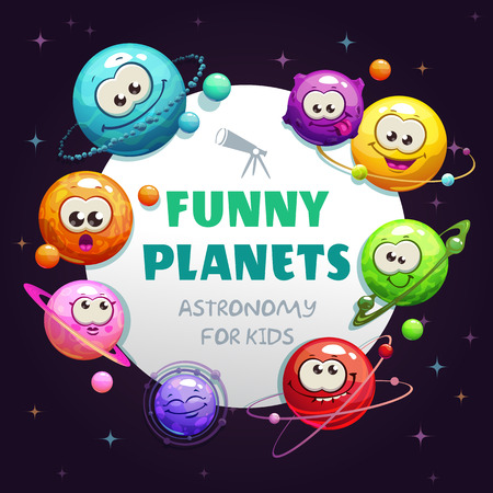 Funny planets, astronomy for kids. Vector childish space background. Cartoon cosmic illustration.