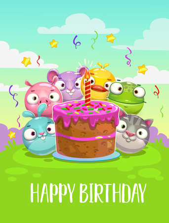 Happy Birthday greeting card. Vector Birthday illustration with big cake and funny round animals.