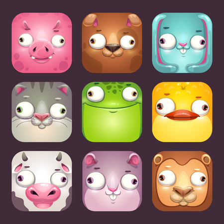 Funny cartoon square animal faces, app icons set.