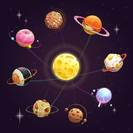 Funny cartoon creative yummy solar system. Fast food planets set. Vector unusual space illustration.