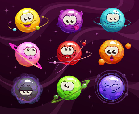 Funny cartoon colorful emoji planets set. Vector comic space characters icons.