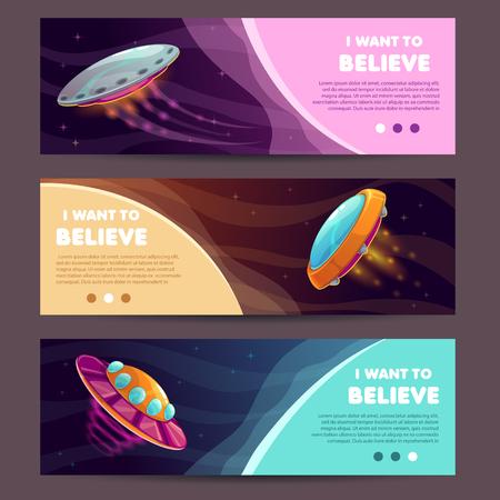 Set of horizontal long banners with cartoon alien spaceships. Vector illustration. Çizim