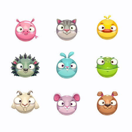 Cute cartoon animal face icons set. Isolated on white background. Vector round characters assets for game design. Pig, cat, duck, hedgehog, frog, bunny, goat, dog, mouse stickers for kids.