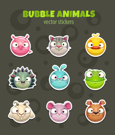 Set of cartoon cute round animal faces. Pets stickers, vector icons.