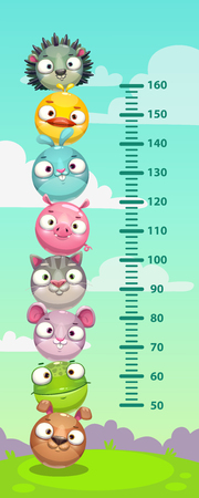 Kids height chart. Wall metter with funny cartoon round animals. Vector illustration.