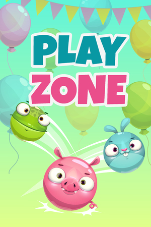 Kids zone banner concept, play zone vector illustration. Funny childish poster with cartoon round jumping animals. Çizim
