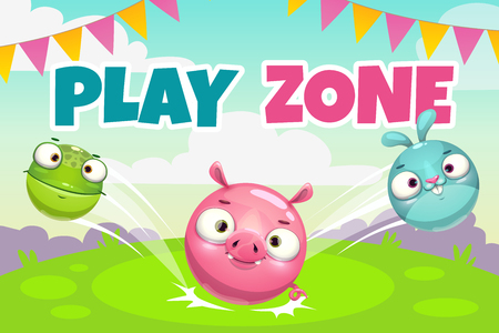 Kids zone banner concept, play zone vector illustration. Funny childish poster with caroon round jumping animals.