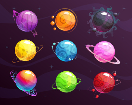 Cartoon colorful fantasy planets set on space background. Vector cosmic assets for game fesign.