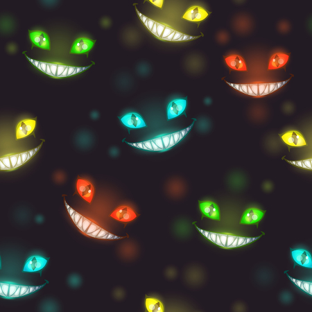 Scary Halloween night background with creepy colorful shiny evil faces. Nightmare texture. Çizim