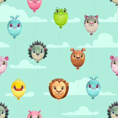 Seamless pattern with funny animal balloons on the sky background. Cute vector childish texture. Çizim