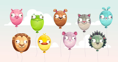 Funny colorful flying balloons with crazy animal faces. Childish icons set. Vector illustration.