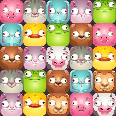 Funny seamless pattern with comic cartoon animal faces. Vector wallpaper tile design.
