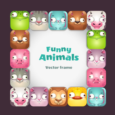 Funy vector square frame with comic cartoon animal faces. Vector childish background.