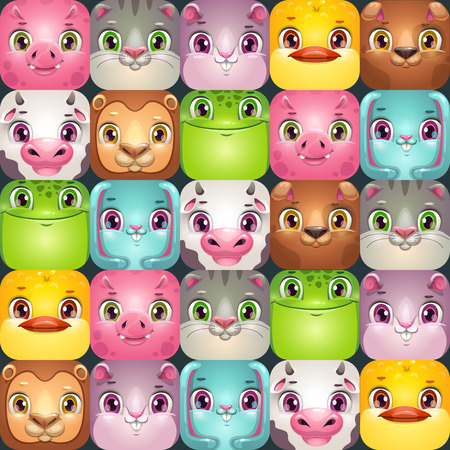 Seamless pattern with cute colorful square animal faces. Vector childish background. Funny background for kids.