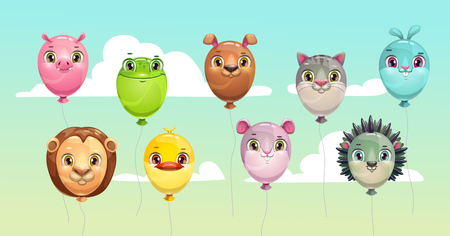 Funny colorful flying balloons with cute animal faces. Childish icons set. Vector illustration.