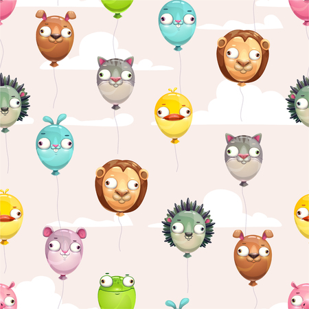 Seamless pattern with funny colorful flying balloons with crazy animal faces on the cloudy sky background. Illustration