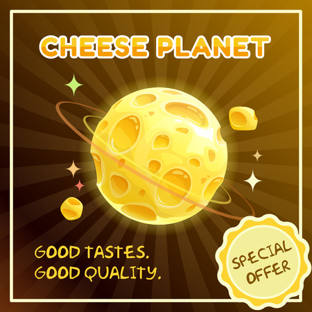 Cheese planet banner. Food galaxy illustration. Vector cheese shop advertising poster. Fantasy space poster.