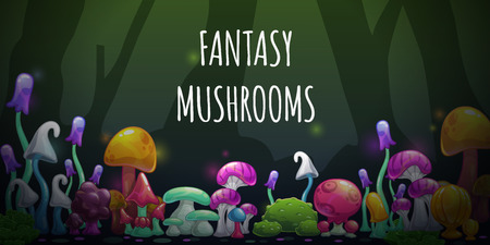 Horizontal banner with cartoon colorful fantasy mushrooms. Vector fairy forest illustration.