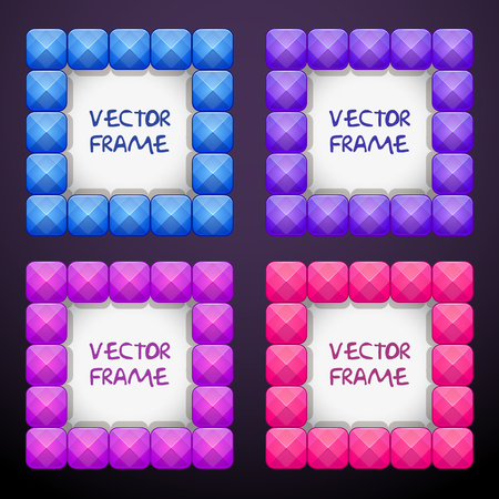 Abstract cteative square jewelry frames consisting of colorful bright crystal blocks. Vector girlish background.