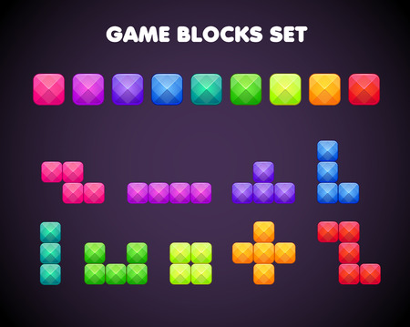 Different cartoon colorful brick elements for mobile or video games design.