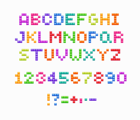 Crystal pixel font, retro video game design. Vector colorful alphabet and numbers.