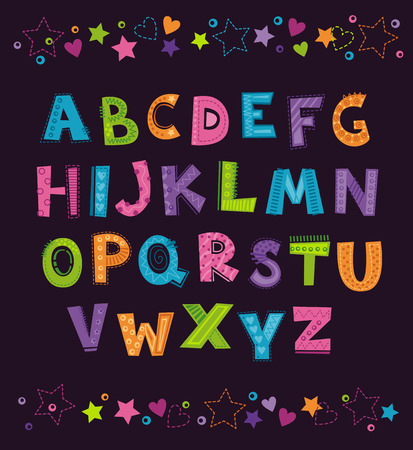 Cute funny childish alphabet on the dark background. Vector font illustration, adapted for CMYK printing