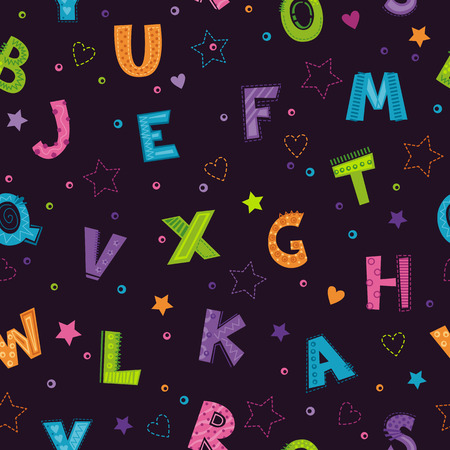Seamless pattern with bright colorful decorative letters, hearts and stars on the dark background. Vector texture template for textile printing.