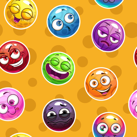 Emoji texture. Seamless pattern with funny colorful emoticon faces on yellow background. Vector square endless print tile.