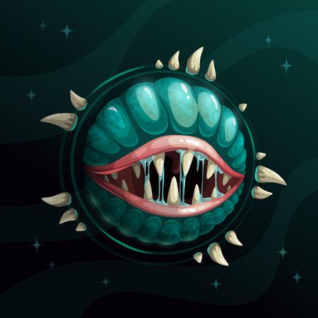 Cartoon creepy monster planet with spittle mouth and jaws on the dark space background. Fantasy space asset for game design. Vector cosmic illustration. Çizim